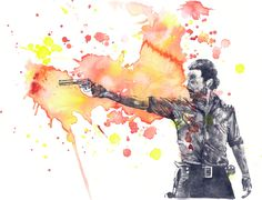 Walking Dead Rick Grimes Poster Print From Original Watercolor Painting - 8 X 10 in. Print The Walking Dead Poster Print by idillard on Etsy