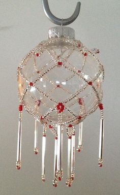 Beaded Christmas ornament - one of a kind. Made in Canada $25 plus shipping