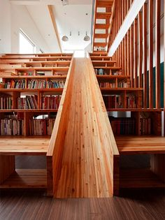 Staircase + Library + GIANT WOODEN SLIDE! Cool.