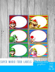 Mario Food Tags/Labels Digital