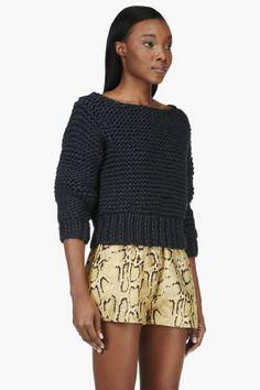 MM6 Maison Martin Margiela Indigo Knit Handmade Sweater for women   SSENSE