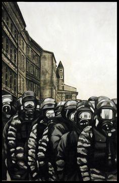 """LIBERTÉ: """"La police"""" 2014 technique mixte sur panneau 153 x 100 cm"""