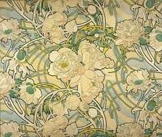 Peonies, A. Mucha. Would love to paper my walls with those.