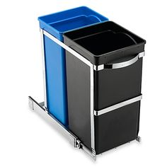 Pull-out recycler has a space-saving design that enables it to fit easily inside cabinets for easy access. Commercial-grade steel frame has smooth gliding ball-bearing tracks that when fully extended reaches 18.