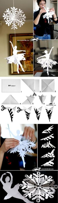 Kids Crafts, Diy And Crafts, Paper Decorations, Christmas Decorations, Origami Decoration, Paper Garlands, Snowflake Decorations, Diy Paper, Paper Crafts
