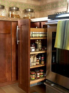Pullout Shelves- a great small alteration that frees upper cabinet space for other uses.