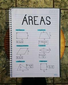Cálculos da área Geometry Formulas, Math Formulas, Lettering Tutorial, Mental Map, I Love School, Study Techniques, Study Organization, Bullet Journal School, Study Planner