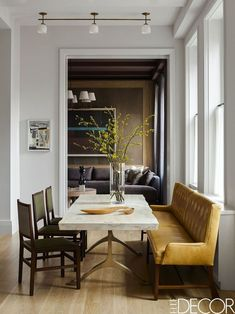 modern farmhouse dining room design, farmhouse dining room decor, neutral dining room with farmhouse dining room table and dining chairs with neutral rug and dining room chandelier and artwork ad white walls Dining Room Inspiration, Interior Inspiration, Inspiration Design, Elle Decor, Home Design, Design Design, Design Styles, Sweet Home, South Shore Decorating