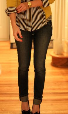 i like it all...striped button-down, bright cardigan, gold watch, jeans, heels...all of it