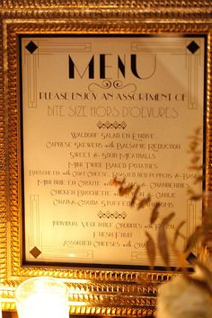 Menu for a small bites buffet all Great Gatsby/The Roaring 20's themed.