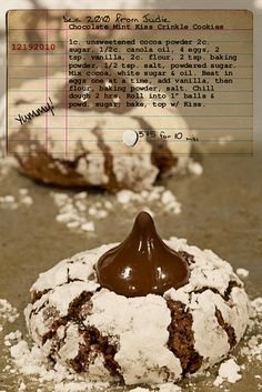 Chocolate crinkle kiss cookie!  A staple in our house at Christmas time. #food #cookie
