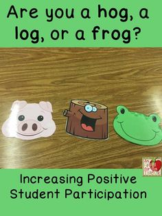 Increasing Positive Student Participation Are You a Hog, a Log, or a Frog? Morning Meeting Lesson An Apple For The Teacher: Increasing Positive Student Participation Are You a Hog, a Log, or a Frog? Classroom Behavior, Kindergarten Classroom, School Classroom, Classroom Management, Behavior Management, Classroom Ideas, Class Management, Classroom Meeting, Classroom Organization