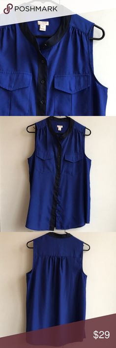 Sleeveless J-Crew Shirt Sleeveless blue blouse from J-Crew J. Crew Tops