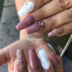 Fall Nails. Marble Nails. Nails With Rhinestones.