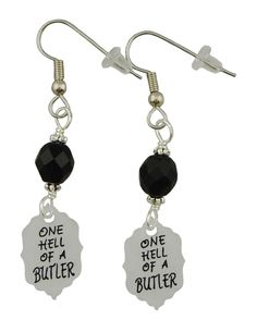 "Sebastian Michaelis is ""One Hell of a Butler"". These fun light earrings are perfect for the Black Butler fan in you. These supper light weight earrings are 2 1/4 inches long and 1/2 inch wide At the t"
