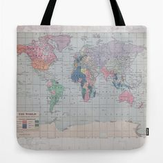 World Map Tote Bag travel theme tote everything bag by Mapology