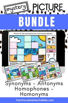 This Boom Card Bundle contains 6 different mystery picture decks targeting antonym, synonym, homophone and homonym vocabulary words. Each deck has more than one mystery picture. By clicking or tapping the correct answers, your students will reveal a piece of the mystery picture making this an engaging way to practice important vocabulary and spelling. Vocabulary Games, Grammar And Vocabulary, English Vocabulary, Teacher Must Haves, Printable Board Games, Classroom Language, Educational Games, S Word, Teaching English