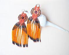 Long micro macrame earrings - Tassel Fringe Tangerine Orange Blue Unique