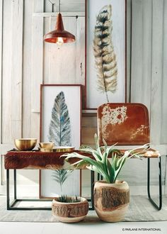 Goathide Furniture, rough textures and greenery. Simple, rich and straightforward colour palette, a great trend for 2017 Artificial Cactus, Cowhide Chair, Nordic Interior Design, Spring Fair, Botanical Decor, Wooden Planters, Decorating With Pictures, Dining Chairs, House Design