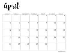 April 2021 basic Monday start calendar page. Free printable April Monday start calendar. At A Glance Calendar, Calendar Pages, 2021 Calendar, Planner Pages, December Calendar, Calendar Ideas, Free Printable Calendar Templates, Free Printables, School Calendar