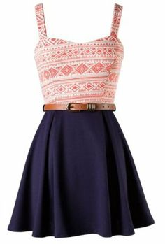 The Peach Belted Skater Dress - 29 N Under on Wanelo
