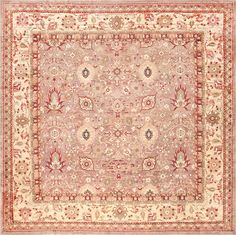 Large Square Antique Indian Agra Rug 46911 by Nazmiyal