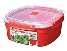Sistema Microwave Large Steamer with Removable Steamer Basket - 3.2 L, Red/Clear