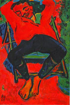 Picture of a Man Sitting Red, 1919, Erich Heckel