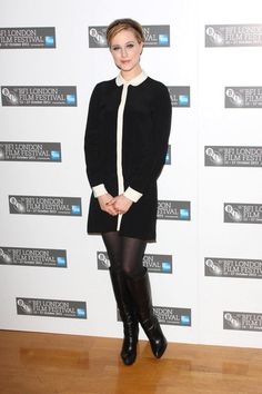 """Evan Rachel Wood attends """"The Ides of March"""" photocall during the 55th BFI London Film Festival in an Alexa Chung for Madewell dress."""