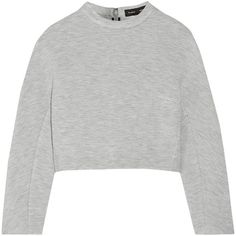Proenza Schouler Cropped jersey sweatshirt ($298) ❤ liked on Polyvore featuring tops, hoodies, sweatshirts, sweaters, grey, loose fitting tops, grey crop top, gray top, sweat shirts y loose tops