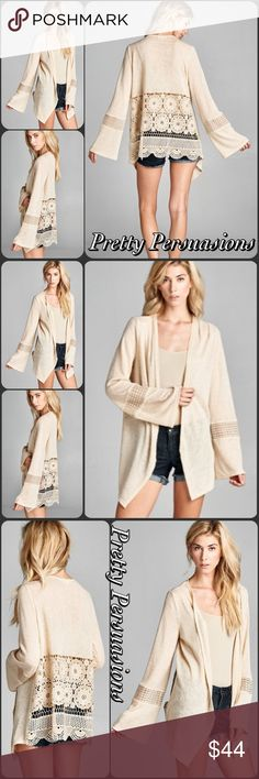 Spotted while shopping on Poshmark: NWT Beige Crochet Bell Sleeve Open Front Cardigan! #poshmark #fashion #shopping #style #Pretty Persuasions #Sweaters