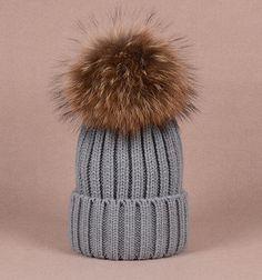 84cb68c3154 Big Fox Fur Balls Gray Hat Fluffy Large Pom Poms Cute Grey Hat Cotton Women  Hats Coffee Puffs Fuzzy BLACK tips Pom pom Knit Beanie for Women