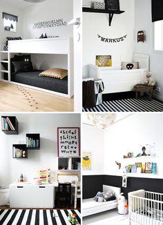 monochrome black and white kids room | yellow