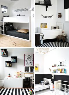 monochrome black and white kids room | yellow