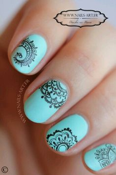 Teal nails with paisley or mandala