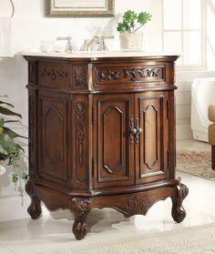 """Chans Furniture - 27"""" Petite Powder Room Spencer Bathroom Sink Vanity HF-3305W-TK-27"""