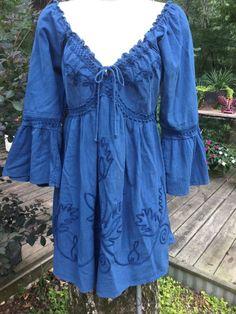 Gretty Zueger is Natural Fashion Boho Gypsy Shirt Dress Blue Embroidery Sz S #GrettyZueger #EmpireWaist #Casual