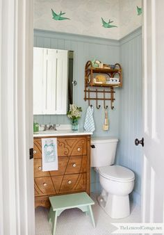 Blue bathroom - Wedgewood Gray...I've loved this bathroom remodel since I first saw it on The Lettered Cottage - beautiful!