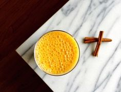 This delicious smoothie helps balance blood sugar and encourages healthy digestion. To make your own fresh carrot juice, blend 1/2 lb carrots in your blender and strain with a nut milk bag or cheesecloth. If your banana isn't frozen, add a handful of ice. on goop.com. http://goop.com/recipes/carrot-cake-shake/