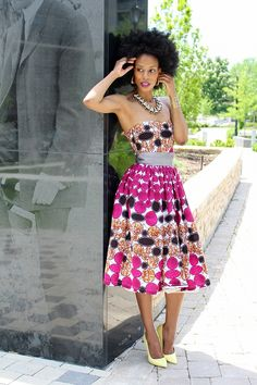 African print dress with afro natural hair
