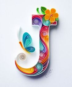 J - Quilling wall paper art - Letter J - Paper art - Personalized Monogram Gift - Birthday gift - Handmade - Custom - Gift for girl : larissa Zasadna Quilling Paper Art by LarissaZasadna on Etsy Arte Quilling, Quilling Letters, Paper Quilling Patterns, Quilled Paper Art, Quilling Paper Craft, Paper Crafts Origami, Paper Letters, Quilling Ideas, Diy Paper
