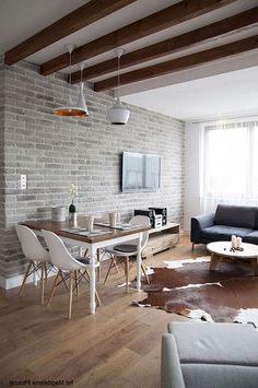 Brilliant Solution Small Apartment Living Room Decor Ideas and Remodel - Page 61 of 80 Small Living Rooms, Brick Interior, Retro Living Rooms, Eclectic Living Room, House Interior, Brick Wall Interior Living Room, Brick Interior Wall, Living Room Interior, Apartment Interior