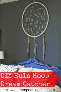 DIY Hula Hoop Dream Catcher- learn how to make this HUGE statement dreamcatcher. Great craft kids can do, too! Fun Crafts, Diy And Crafts, Crafts For Kids, Arts And Crafts, Craft Kids, Wood Crafts, Hula Hoop, Dreamcatchers, Craft Projects