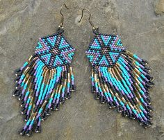 Seed beaded  dangle long earrings  Native American by Anabel27shop,