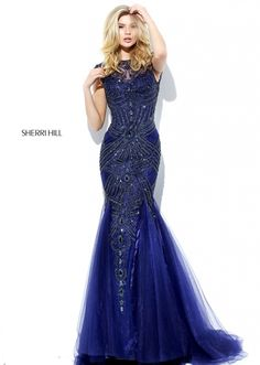 Sherri Hill 50516 cap sleeve mermaid for prom or pageant