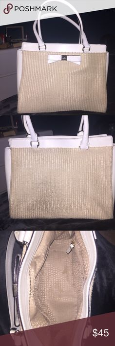 """Kate spade small tote This bag is perfect for the spring season! It is a white leather material with a light colored wicker front and back. It has a decorative white bow on the front with the Kate Spade logo on the metal. Interior is light tan with """"Kate Spade New York"""" text on it. This bag is used but is in good condition. The wicker is slightly distressed, mostly on the bottom, back corner, where it hits clothes as you wear it. It still looks very nice overall!! Adorable bag! kate spade…"""