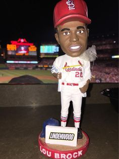.@LindenwoodU reppin' at the #stlcardinals game with the @LouBrock1 bobblehead