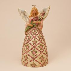 ✿Angel Figurine✿ With Prayer All Things Are Possible-Breast Cancer Awareness Angel Figurine