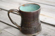 FREE SHIPPING Turquoise and Brown Hand Thrown Stoneware Coffee Mug. $18.00, via Etsy.
