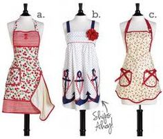I have (c) hanging on my apron rack in the kitchen.  This is my cooking apron.  I also have a cleaning apron and a hostess apron.  I LOVE aprons!